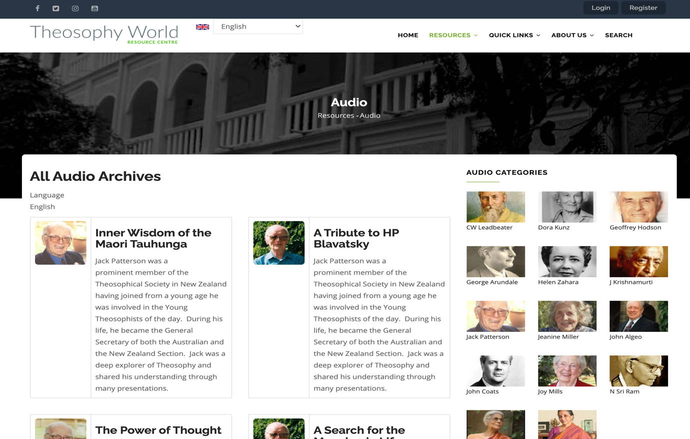 Theosophy World Audio Section