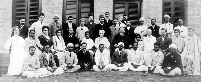 Annie Besant with members in Adyar; on her right is J. Krishnamurti and on her left are C.W. Leadbeater and J. Nityananda