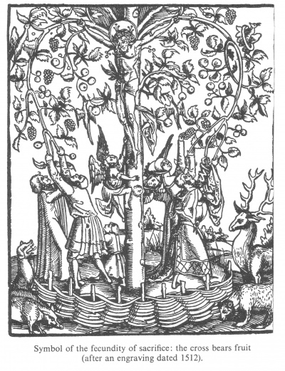 Symbol of the fecundity of sacrifice, the cross bears fruit (after an engraving dated 1512)