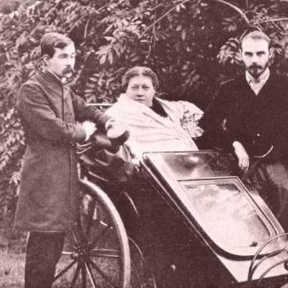 H.P. Blavatsky in 1891 with James Pryse (left)  and G.R.S. Mead